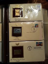 Golden Replicas of US stamps in Batavia, Illinois