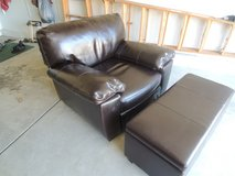 Overstuffed Brown Leather Chair & Ottoman! in Naperville, Illinois