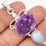 New - Natural Amethyst and Moonstone 925 Sterling Silver Pendant (Includes a chain) in Alamogordo, New Mexico