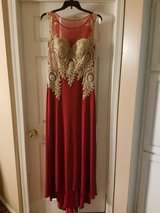 Slim Formal Red and Gold gown in Camp Lejeune, North Carolina