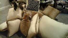 Cheetah leopard nine piece decorative pillows and queen cover in Nellis AFB, Nevada