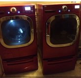 Red LG washer and dryer in DeKalb, Illinois