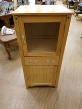 "ADORABLE 16"" Blonde wood cabinet 2 doors ribbed frosted glass  & 1 drawer in Naperville, Illinois"