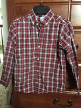 Boys red plaid button up shirt from Gymboree, size 7 in Oswego, Illinois