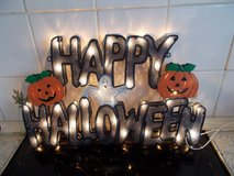 Happy Halloween Illuminated Sign in Lakenheath, UK