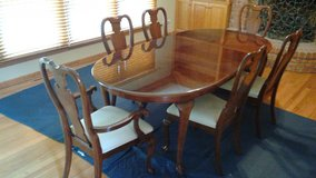 Cherry Queen Anne Style Dining Room Table, with 6 Chairs, 2 Extensions, Pads, and Storage Bags in Naperville, Illinois