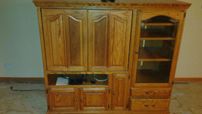 Solid Oak Entertainment Center, Including Fully-Functional Toshiba Television, and Digital Conve... in Naperville, Illinois