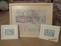 3 pc seaside pastel framed picture in Kankakee, Illinois