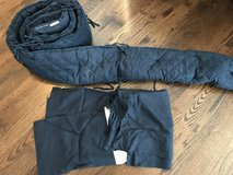 Pottery barn kids navy linen crib skirt and bumper in Oswego, Illinois