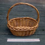 "2 OVAL WICKER BASKETS W/TWISTED HANDLES, 12"" in Westmont, Illinois"