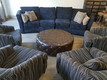 Family room sectional, chairs and ottoman in Palatine, Illinois