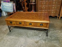 Coffee table with two large drawers, modern wrought iron legs, inlaid faux leather top in Lockport, Illinois
