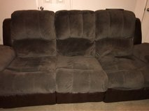 brown suede and leather reclining sofa! in Fairfield, California
