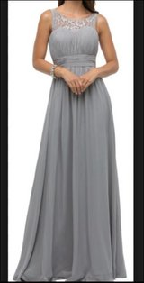 Dancing Queen 9111 Gray Silver Empire XS Formal Bride's Maid Prom Long Gown in Kingwood, Texas