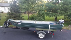 14 ft. Aluminum Boat, Trailer, Motor w/ titles in Batavia, Illinois