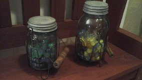 Antique Blue Ball Mason Jars w/Wire Holder Filled With Marbles in Batavia, Illinois