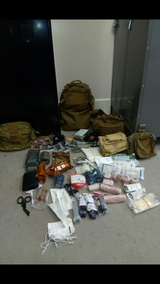 tactical/midical bags with supplies in Camp Pendleton, California