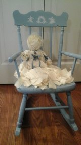 Antique Childs Rocking Chair With Vintage Rag Doll in Glendale Heights, Illinois