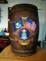 """hand painted """"retirement barrel"""" in Ramstein, Germany"""
