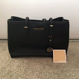 Michael Kors Saffiano Leather Large Tote Bag Black with Gold Tone Hardware in Camp Pendleton, California