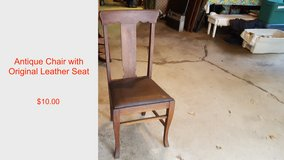 Antique Chair with Leather Seat in Palatine, Illinois