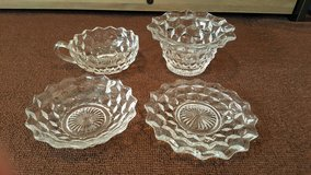 Assorted Fostoria American clear antique dinnerware lot in Okinawa, Japan