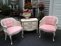shabby chic vintage PINK velvet cane  barrel chairs in Naperville, Illinois