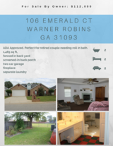 *ADA Compliant* Home For SALE by OWNER $112,000 Warner Robins, GA in Warner Robins, Georgia