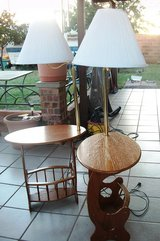 2 Matching End Tables with Lamps and Matching Lampshades and Book Rack in Alamogordo, New Mexico