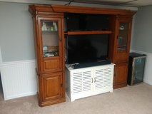 Entertaiment Media Center with Built in Lights and Glass Shelves in Naperville, Illinois