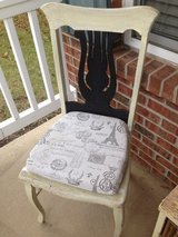 (2 - set) antique harp back chairs! White Chalk & Black, Shabby, distressed, rustic, vintage! in Oswego, Illinois