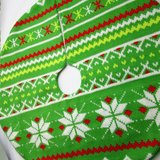 "NEW Miniature Knit Christmas Tree Skirt Green White Red Yellow 18"" in Joliet, Illinois"