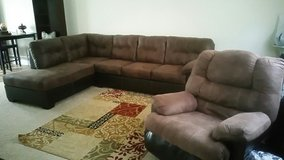 Brown Sectional with Recliner in Hinesville, Georgia