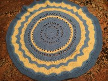 blue and cream circle handmade vintage blanket in Quantico, Virginia