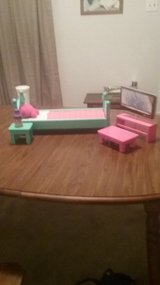 Doll bed w/pillow,nighstand & lamp,tv & stand and table in Morris, Illinois