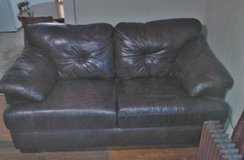 Dark brown real leather loveseat sofa couch in Joliet, Illinois
