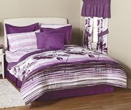 COMFORTER SET PURPLE & WHITE -  KING SIZE 20 Pieces (Brand new, still in case, never opened) in Yorkville, Illinois