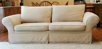 Sofa Couch Contemporary Beige/ Wheat Rolled Arm in Orland Park, Illinois