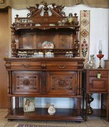 one of a kind walnut credenza with marble top and dragon carvings in Baumholder, GE