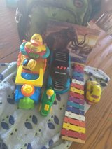 Toys with back pack and blanket in Yucca Valley, California