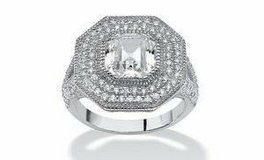 ***BRAND NEW**3.15 TCW Ascher-Cut CZ Halo Hexagon Ring in Sterling Silver*** in Cleveland, Texas