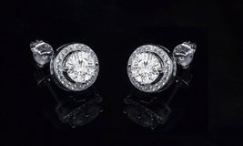 ***BRAND NEW***BEAUTIFUL Round Halo Stud Earrings & Pendant Set*** in Cleveland, Texas