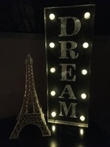 """Dream"" light up sign & glittery Paris tower in Yucca Valley, California"