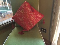 Red silk Asian pillow in Batavia, Illinois