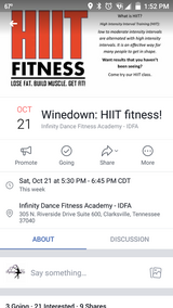 HIIT Class (High Intensity Interval Training) at Infinity Dance studio 10/21 in Fort Campbell, Kentucky