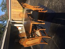 Very solid wood table, chairs, and cover in Palatine, Illinois