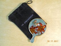 JAY STRONGWATER mini purse mirror with handle, star flower, butterfly, enamel with  pouch in Houston, Texas