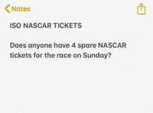 NASCAR TICKETS FOR RACE ON SUNDAY in Fort Leonard Wood, Missouri