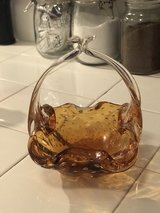 vintage clear orange glass basket from England in Los Angeles, California