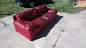 Cindy Crawford Red Leather Couch! in Warner Robins, Georgia